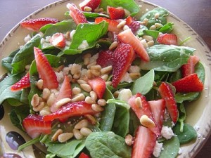 Strawberry, Pinenuts and Feta Salad with a zesty Lemon Dressing