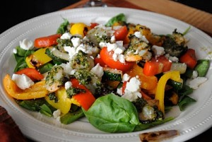 Grilled Pesto Shrimp and Summer Veggie Salad