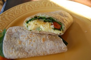 Breakfast Burrito–vegetarian and oh so good!