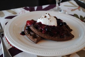 Double Chocolate Waffles with Berries