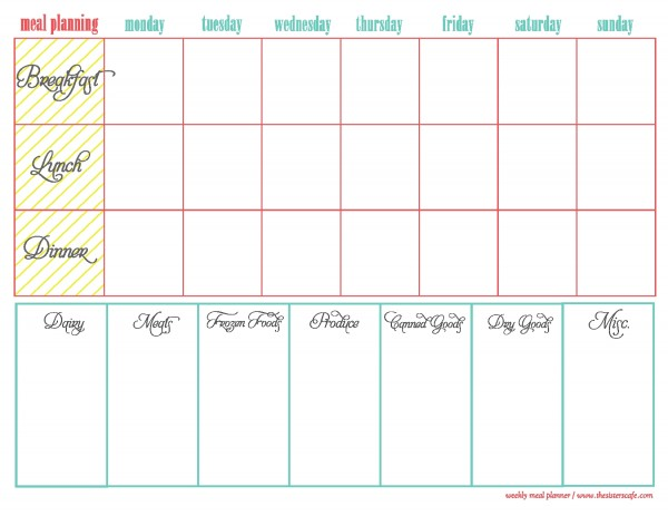 meal planning sheet Template – Weekly Meal Plan Template