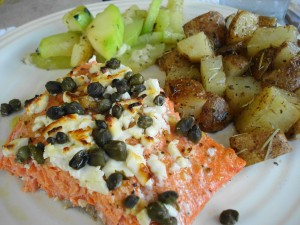 Salmon with Feta and Capers
