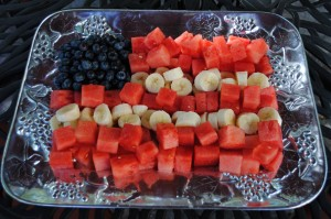 4th of July Fruit Platters: Patriotic Fruit Flag and Watermelon Stars