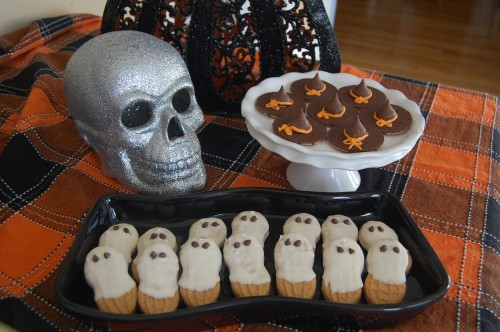 No Bake Halloween Ghost and Witch Hat Cookies