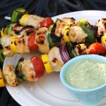 Grilled Kebabs with Creamy Pesto