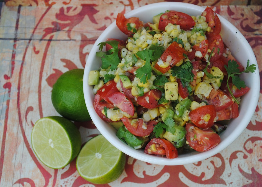 Cilantro, Lime, Avocado, Corn and Tomato Salad