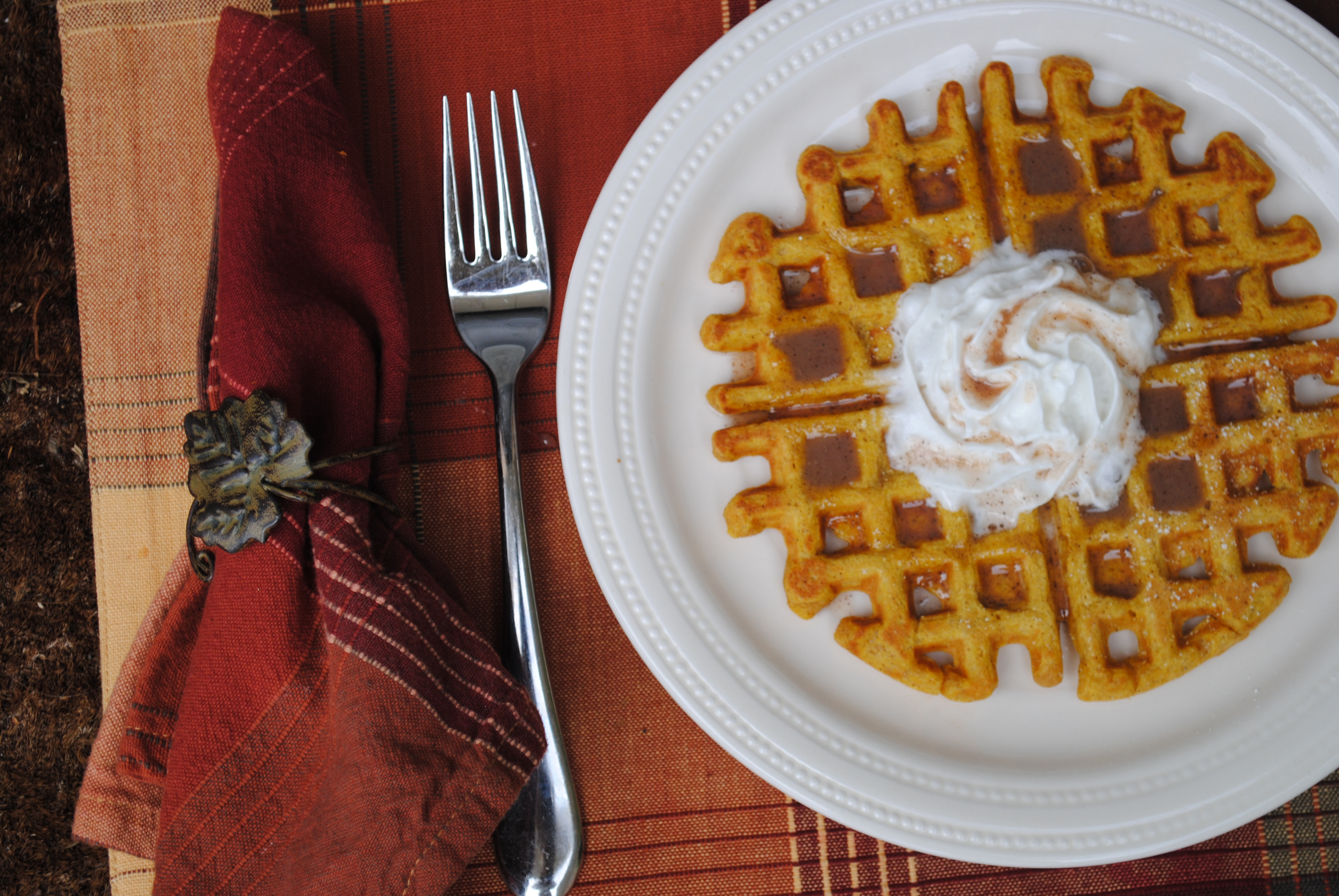 Pumpkin Waffles with Cinnamon Cream Syrup