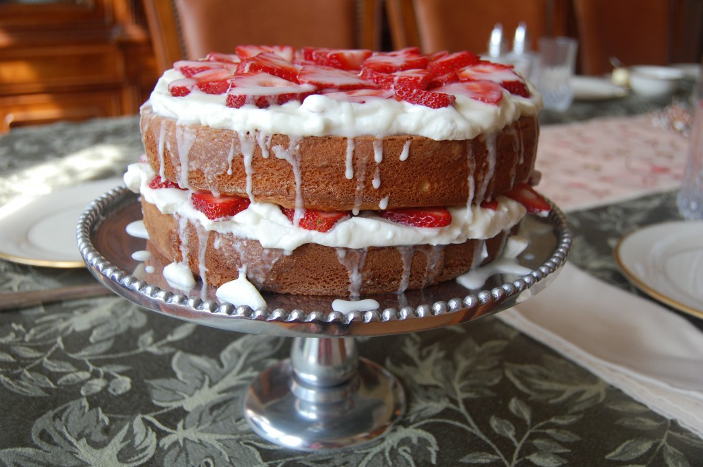Strawberry Shortcake with Almond Glaze