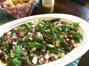 Sweet and Spicy Spinach Salad with Maple Cider Vinaigrette