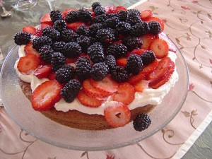 Country Cake with Lemon Curd, Cream and Berries