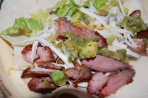 Chili-rubbed Steak Tacos with Tomatillo-Avocado Salsa