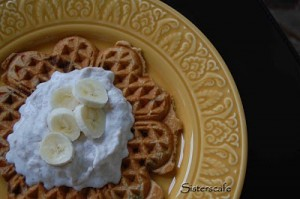Peanut Butter-Chocolate Chip Waffles with Banana Cream