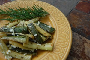 Roasted Summer Squash with Fresh Herbs and Feta
