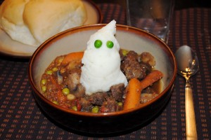Hearty Hunter's Stew with Ghostly Mashed Potatoes