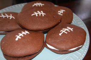 Football Whoopie Pies (from a cake mix)