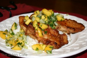 Peanut Ginger Chicken with Mango Salsa and Coconut Rice