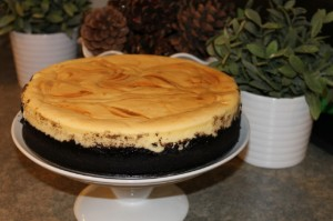 White Chocolate Caramel Swirl Cheesecake