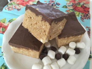 Gourmet Peanut Butter and Chocolate Rice Krispie Bars
